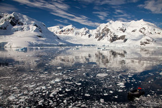 Antarctica, zodiac, boat, Paradise Harbour, mountains, broken ice