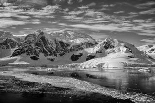 Antarctica, Paradise Harbour, mountains, wind-swept, B&W