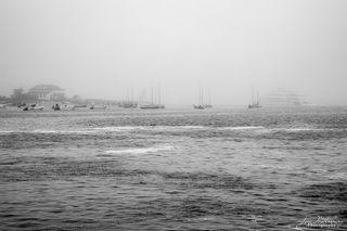 fog, Hyline Ferry, Brant Point lighthouse, Nantucket