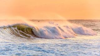 wind, spray, waves, ocean, surf, orange