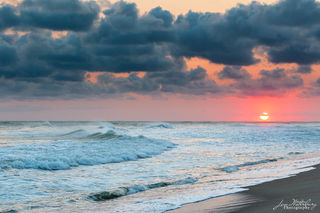 waves, orange sky, sunset, surf, ocean
