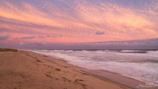 waves, ocean, seascape, pink, clouds