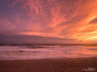 sunset, ocean, surf, pink, orange, fall