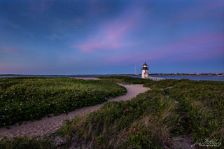 Brant Point, lighthouse, Nantucket, night, pink, sunset, sand, flowers