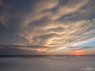 sun, sunset, horizon, soft light, summer, clouds