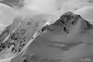 Antarctica, Port Lockroy, mountains, peaks, B&W
