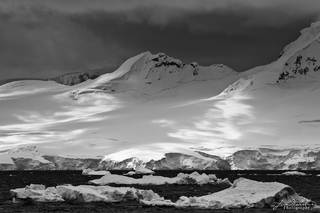 Antarctica, snow, shadows, mountains, B&W