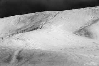 Hokkaido, Japan, black & white, snow, hill, fence