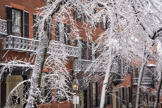 Beacon Hill, Boston, Massachusetts, snow, brick