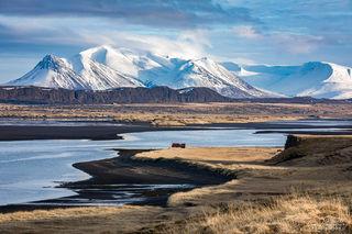 mountains, snow, beaches, black sand, water, Iceland