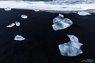 ice, black sand, beach, Fellsfjara, Diamond Beach, Breidamerkursandur, Iceland