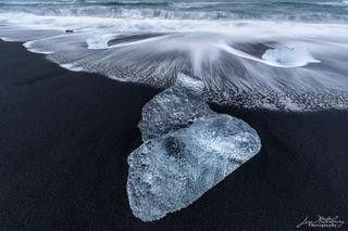 surf, foam, black sand, Fellsfjara Beach, Breidamerkursandur, Diamond Beach, Jokulsarlon, glacial lagoon, Iceland