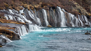 waterfall, Hraunfossar, Iceland, winter