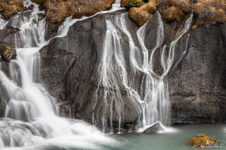 Hraunfossar, waterfall, water, ribbons, graceful, Iceland, winter