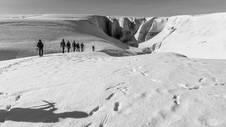 black & white, photographers, hike, glacier, Vatnajokull, Iceland