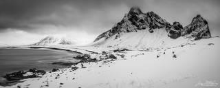 black & white, Hvalnes, Iceland, Eystrahorn, winter