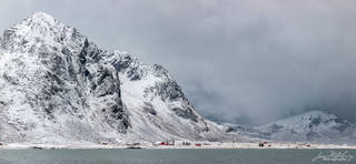 Flakstad, Lofoten, Norway, village, mountains, fjord, winter