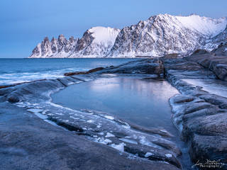 snow, mountains, rocky, fjord, Senja, Lofoten, Norway, winter