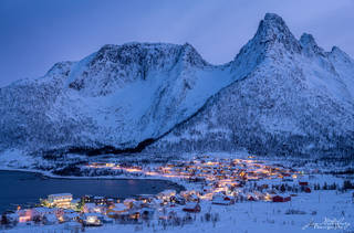 night, winter, Mefjordvaer, Senja, Lofoten, Norway
