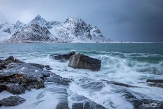 seascape, rocks, mountains, surf, winter, snow, Lofoten, Norway