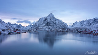 Reine, mountains, fjord, Lofoten, Norway, blue hour, evening