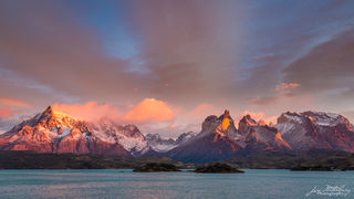 sunrise, alpenglow, horns, cuernos, mountains, Torres del Paine
