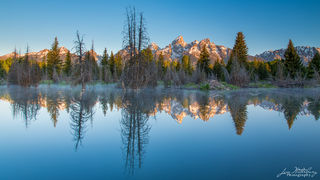 Teton, sunrise, pink light, Schwabacher, Teton National Park