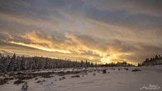 sunset, storm clouds, Spanish Peaks, Big Sky, Montana