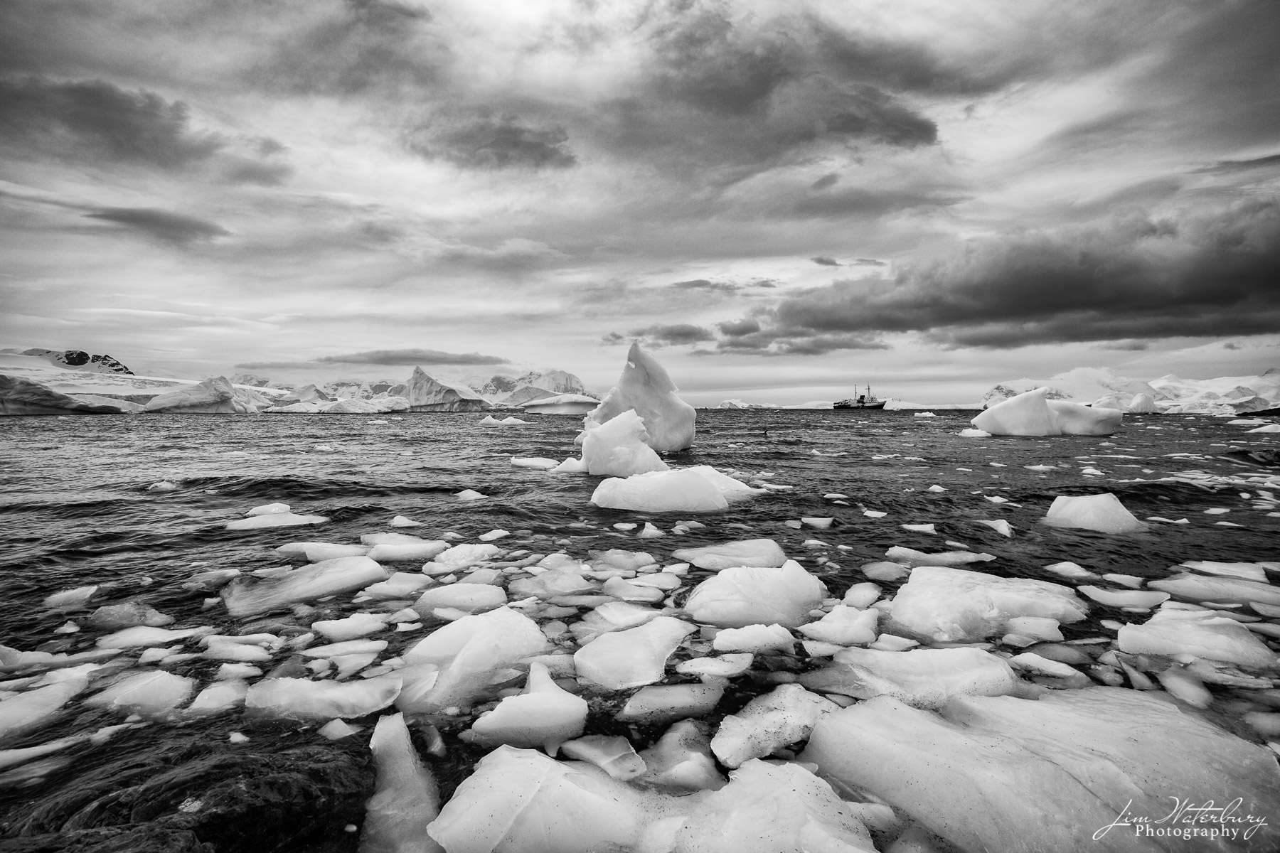 Antarctica, ice, Cuverville Island, stormy, ship, B&W, photo