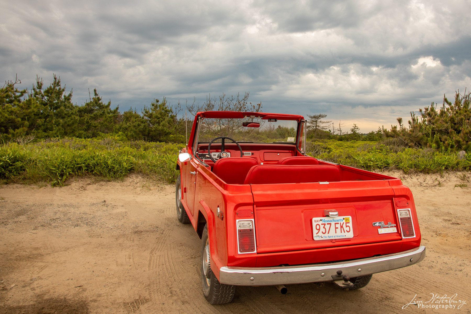 jeep, red, Nantucket, beach, photo