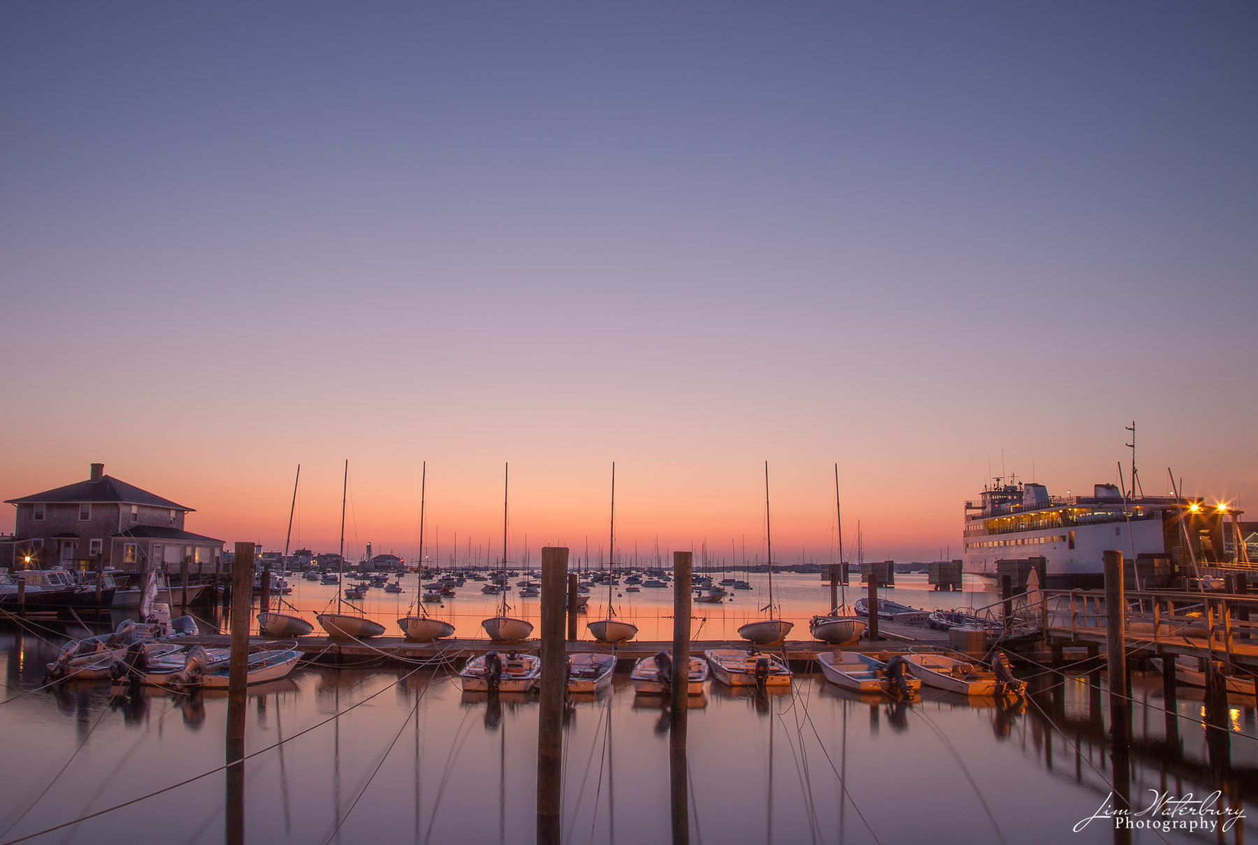 Nantucket, boats, ferry, dawn, photo