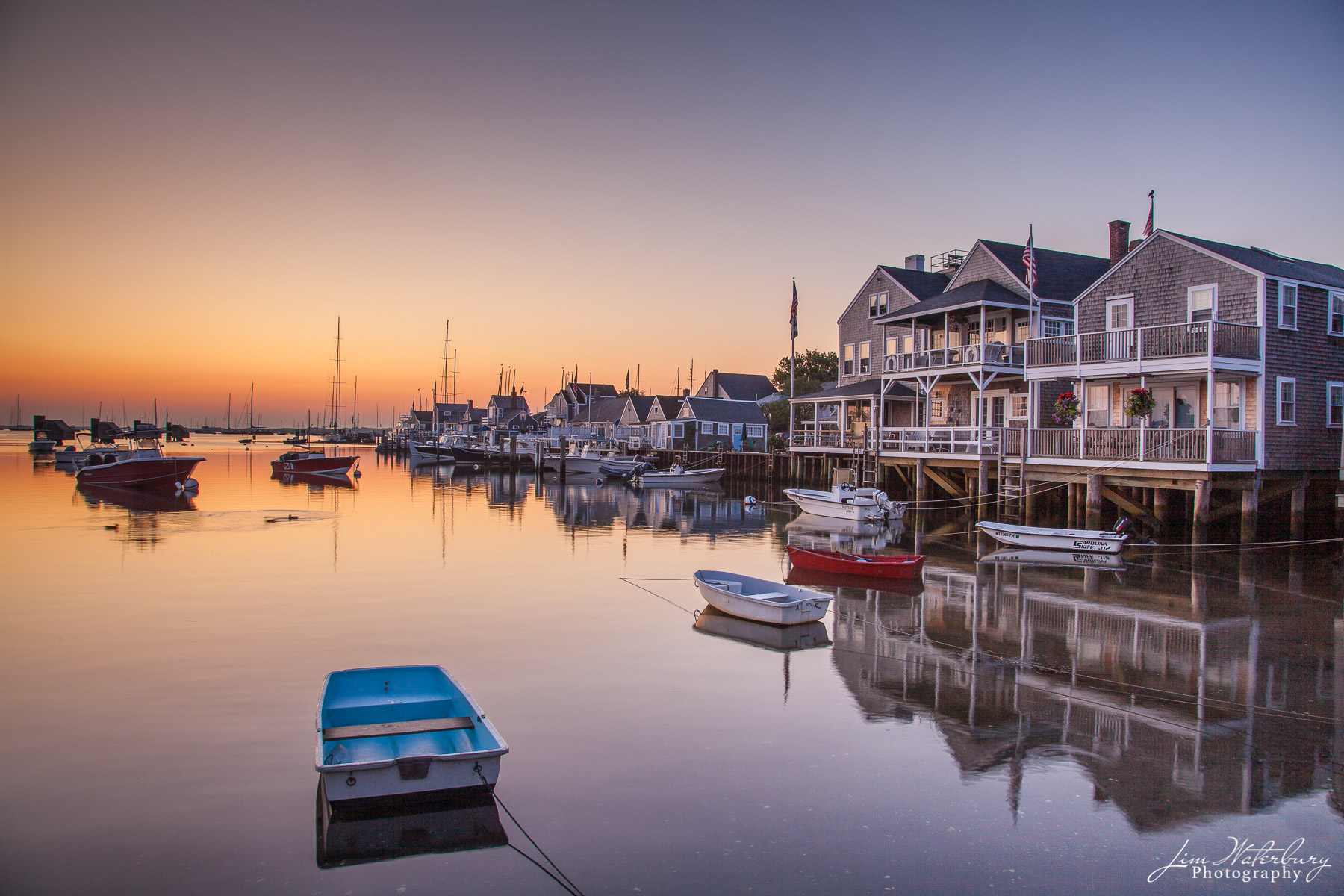 View from the Easy Street boat basin, Nantucket, at dawn.
