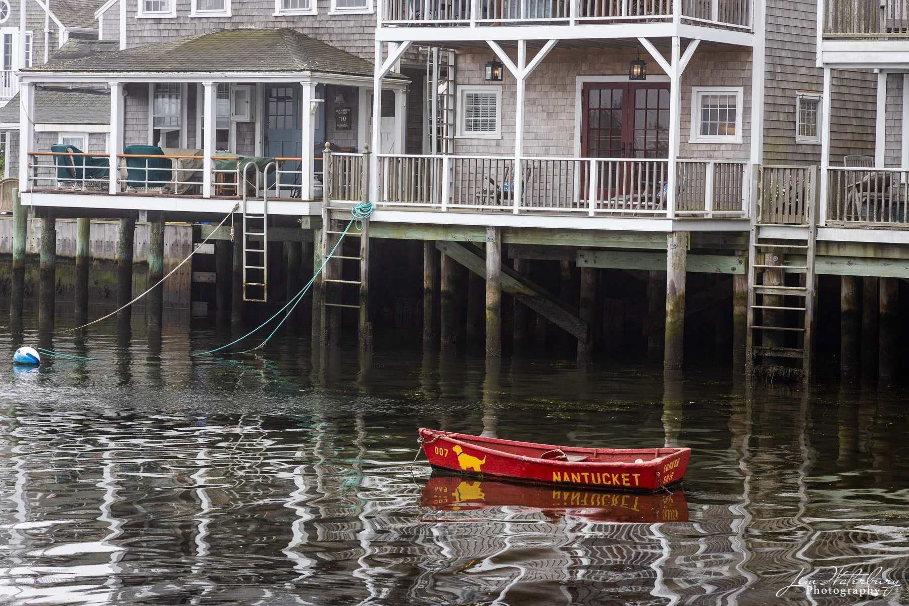 red, dinghy, Easy Street Boat Basis, Old North Wharf, reflections, Nantucket, photo