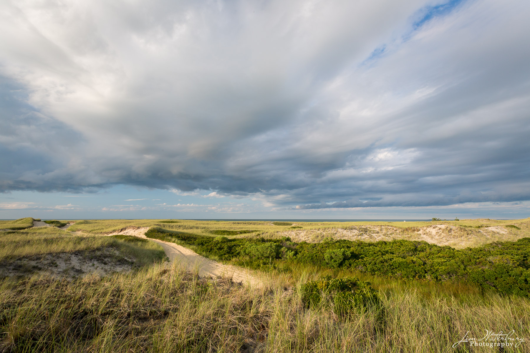 View of sand roads running through the dunes on Eel Point, Nantucket, with Nantucket Sound in the distance.