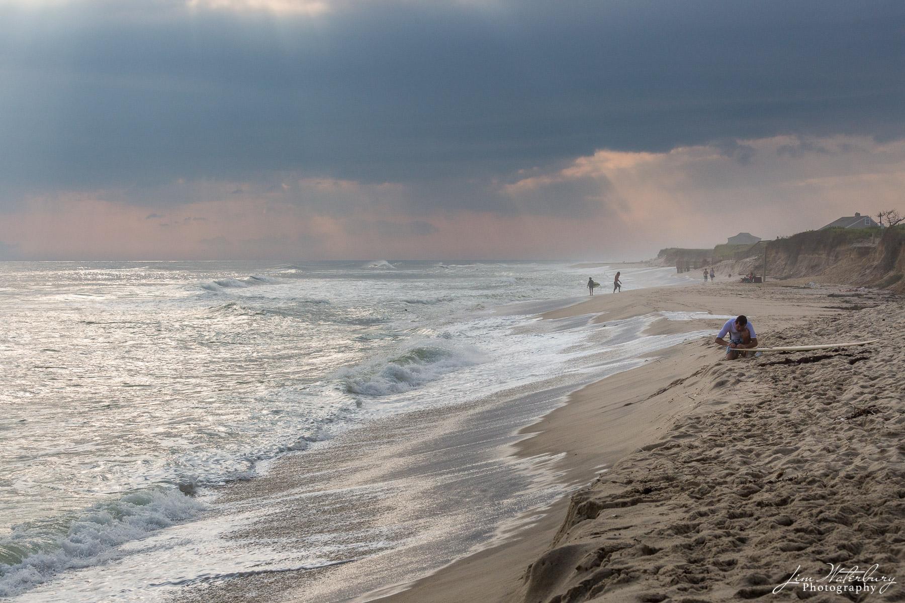 beach, waves, surfer, Cisco beach, Nantucket, photo