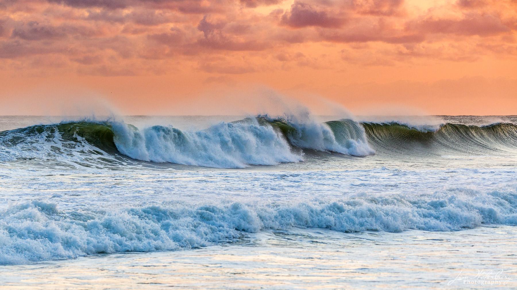 waves, beach, shore, orange sky, ocean, photo