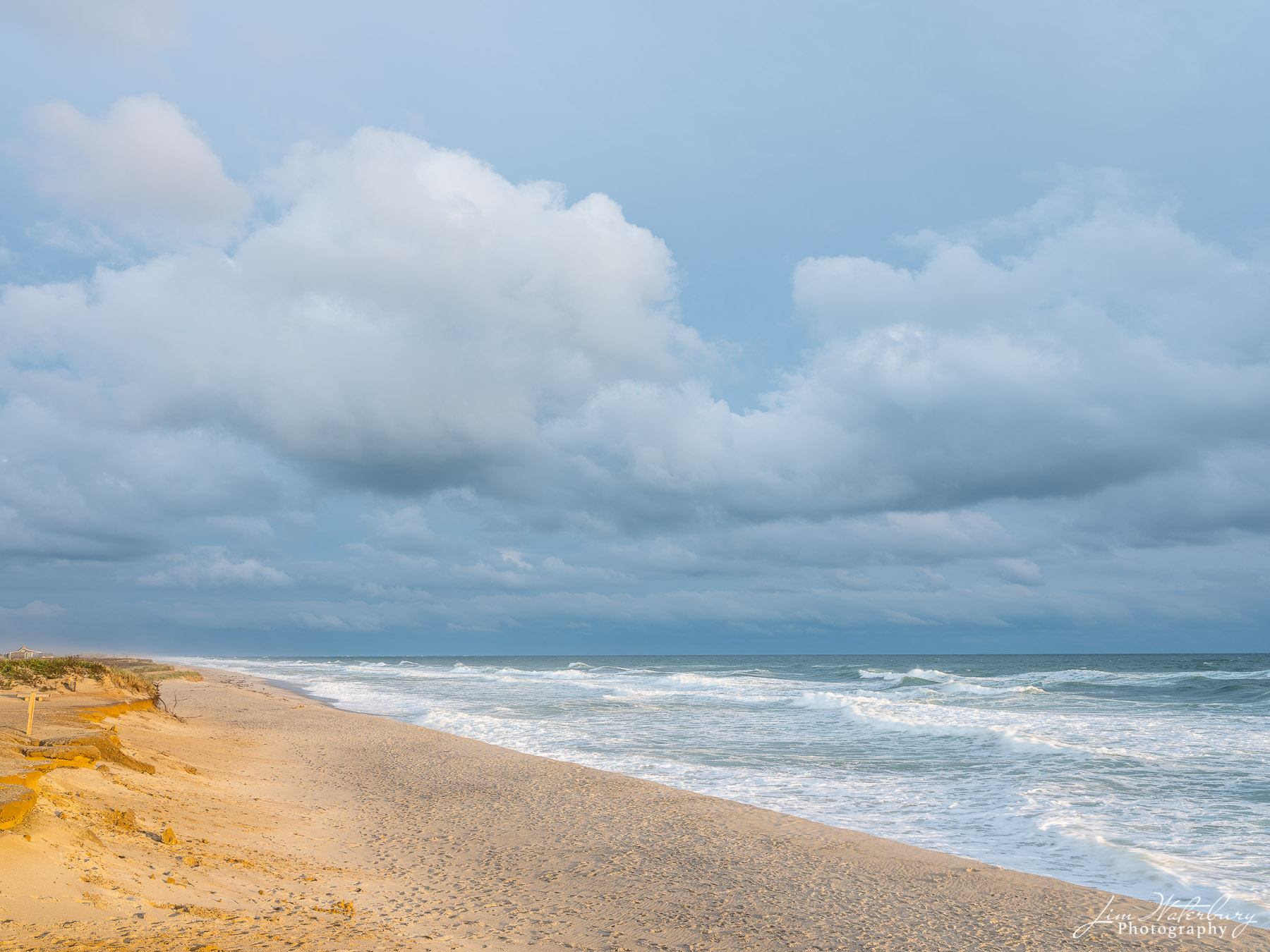 A moody, but quiet beach and ocean scene in late October on Nantucket.