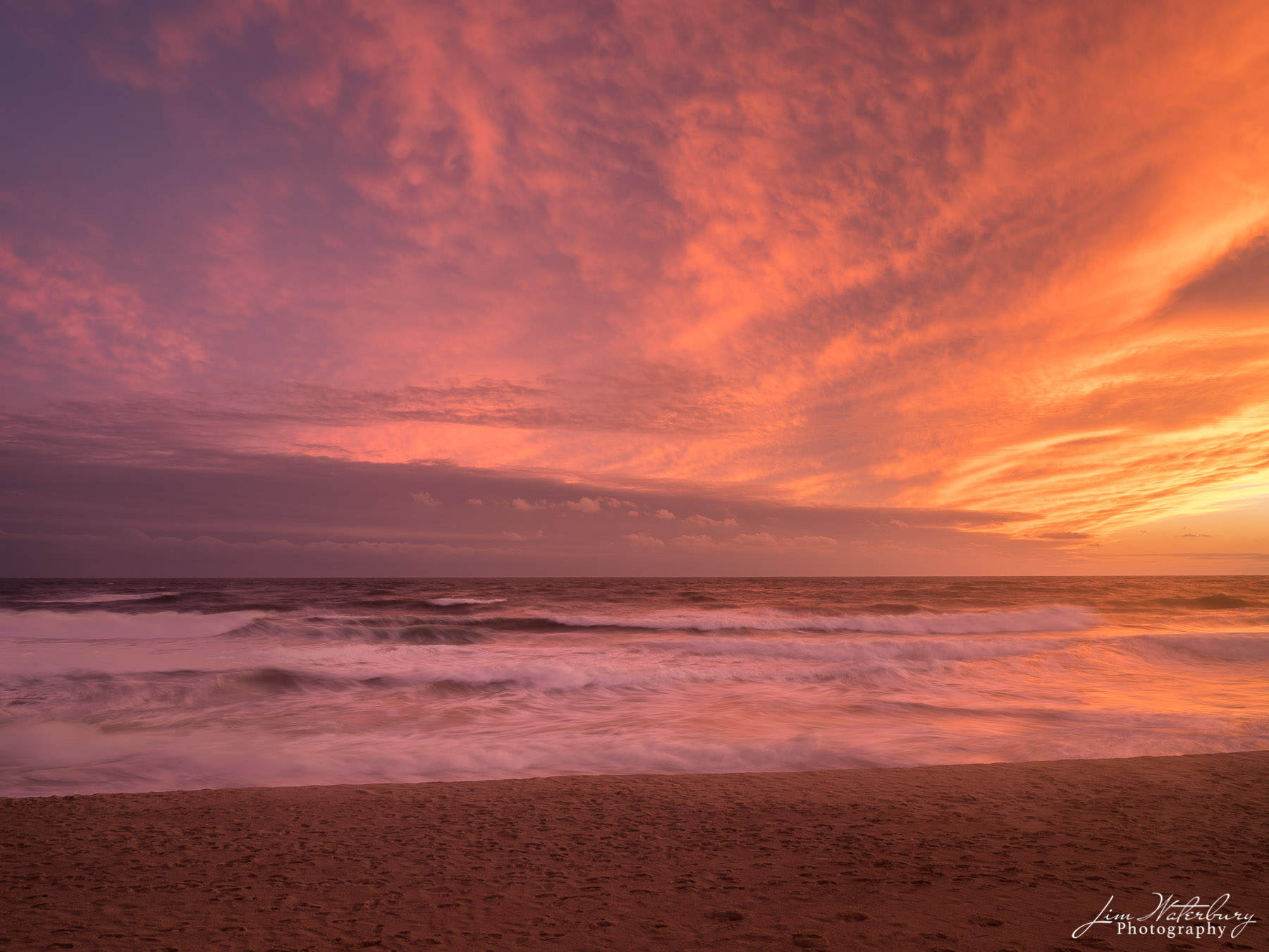 sunset, ocean, surf, pink, orange, fall, photo