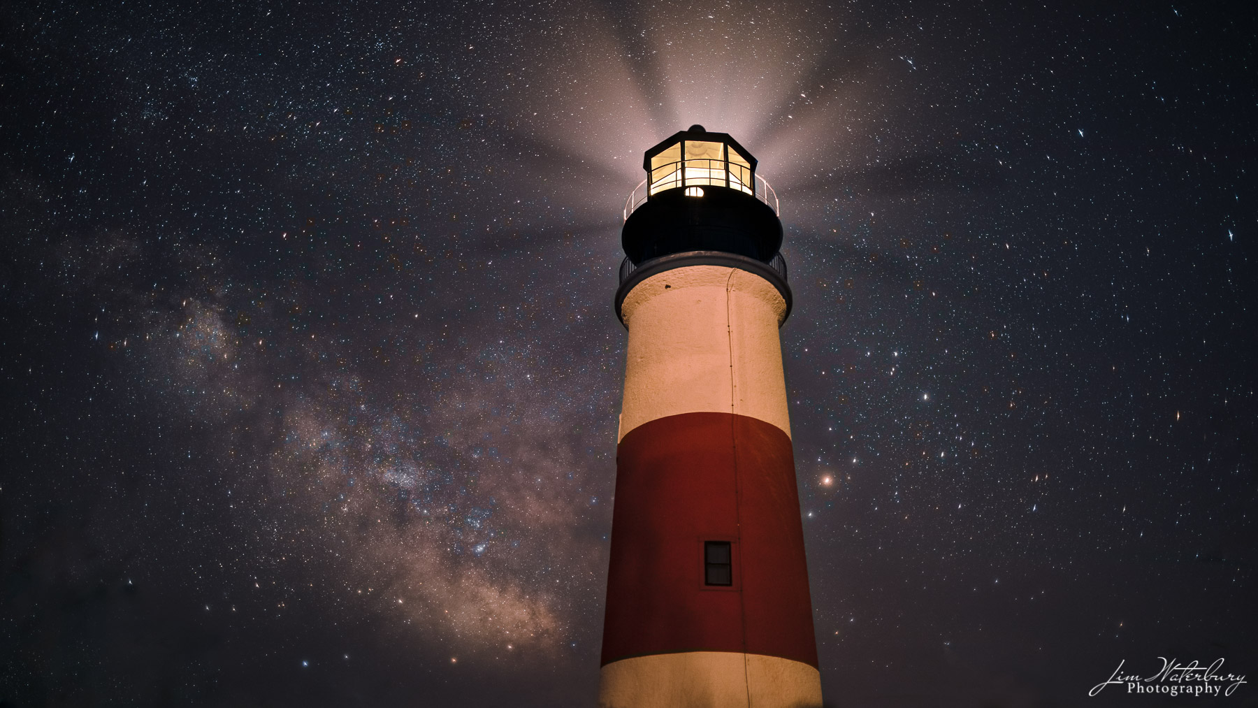 Sankaty Light shines, with the Milky Way visible in the late June sky.