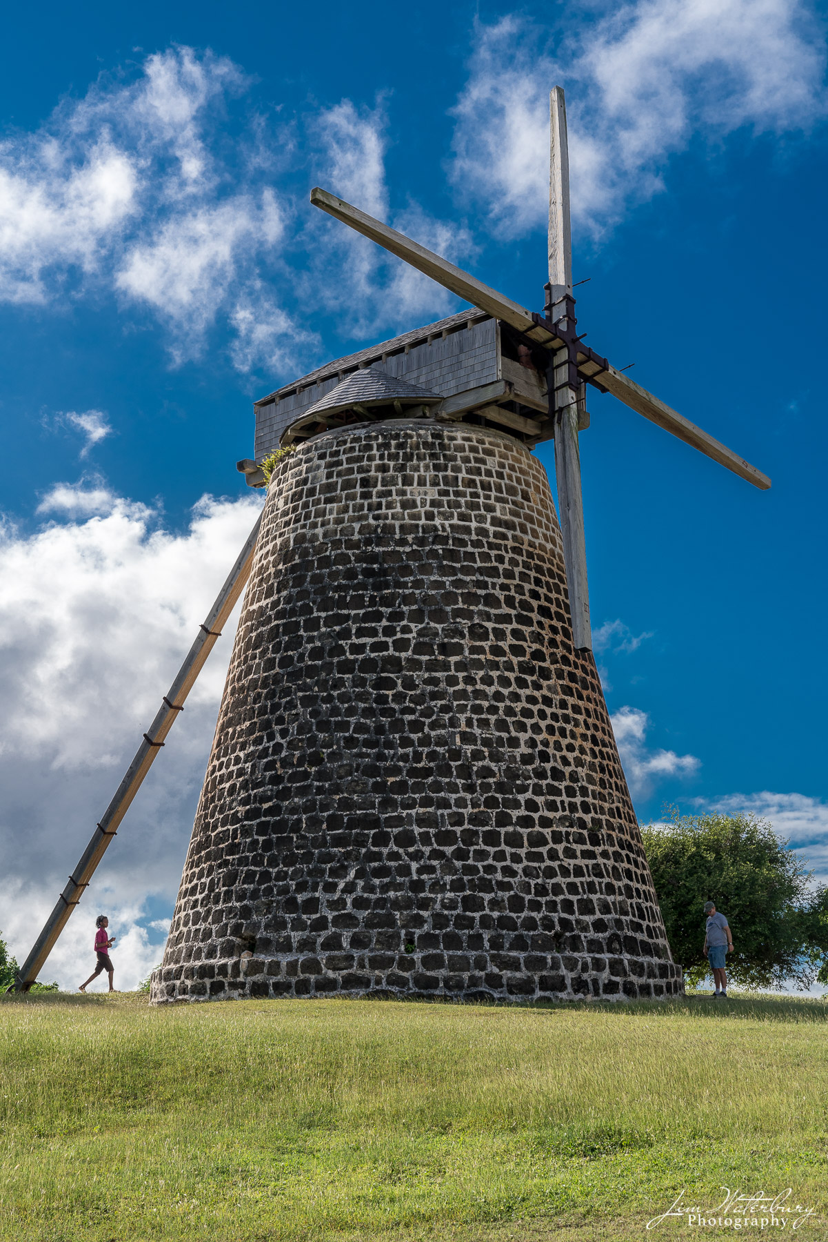 Restored windmill at Betty's Hope, a historic sugar plantation on the island of Antigua.