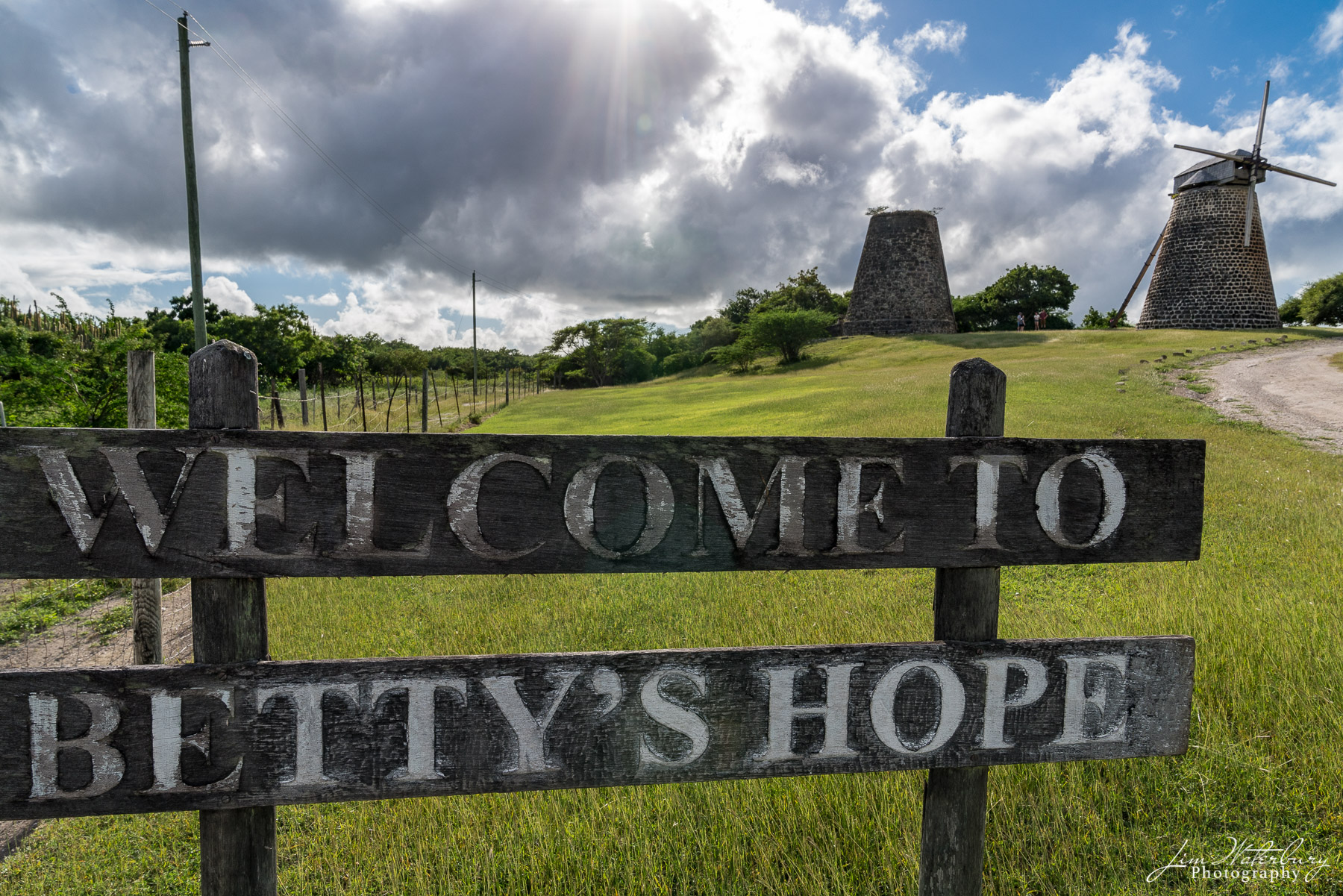 View of the restored sugar mill at Betty's Hope on Antigua.  Betty's Hope was one of the earliest sugar plantations on the...