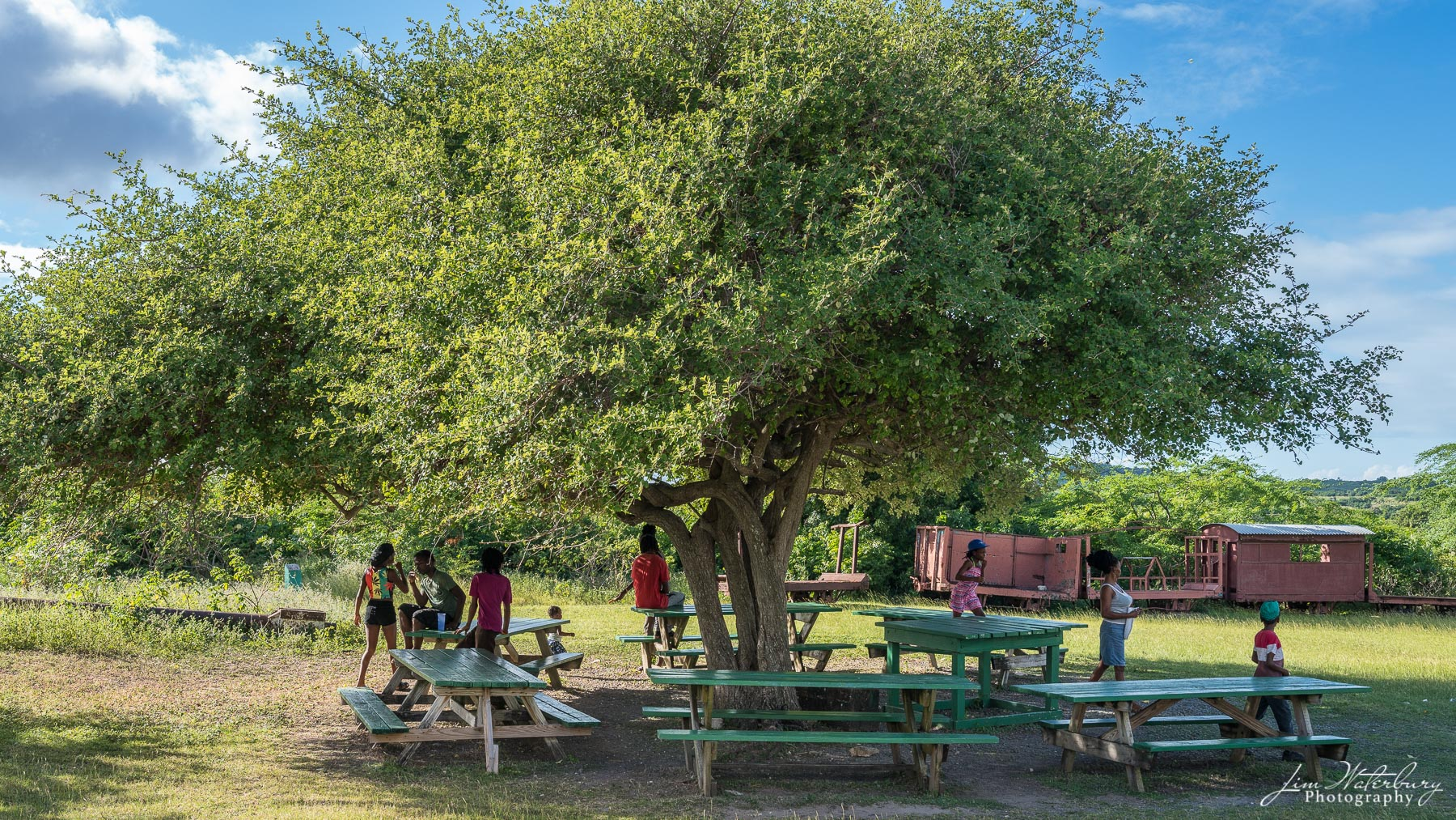 Children play around picnic tables and an old raillroad car at Betty's Hope, site of one of the earliest sugar plantations on...