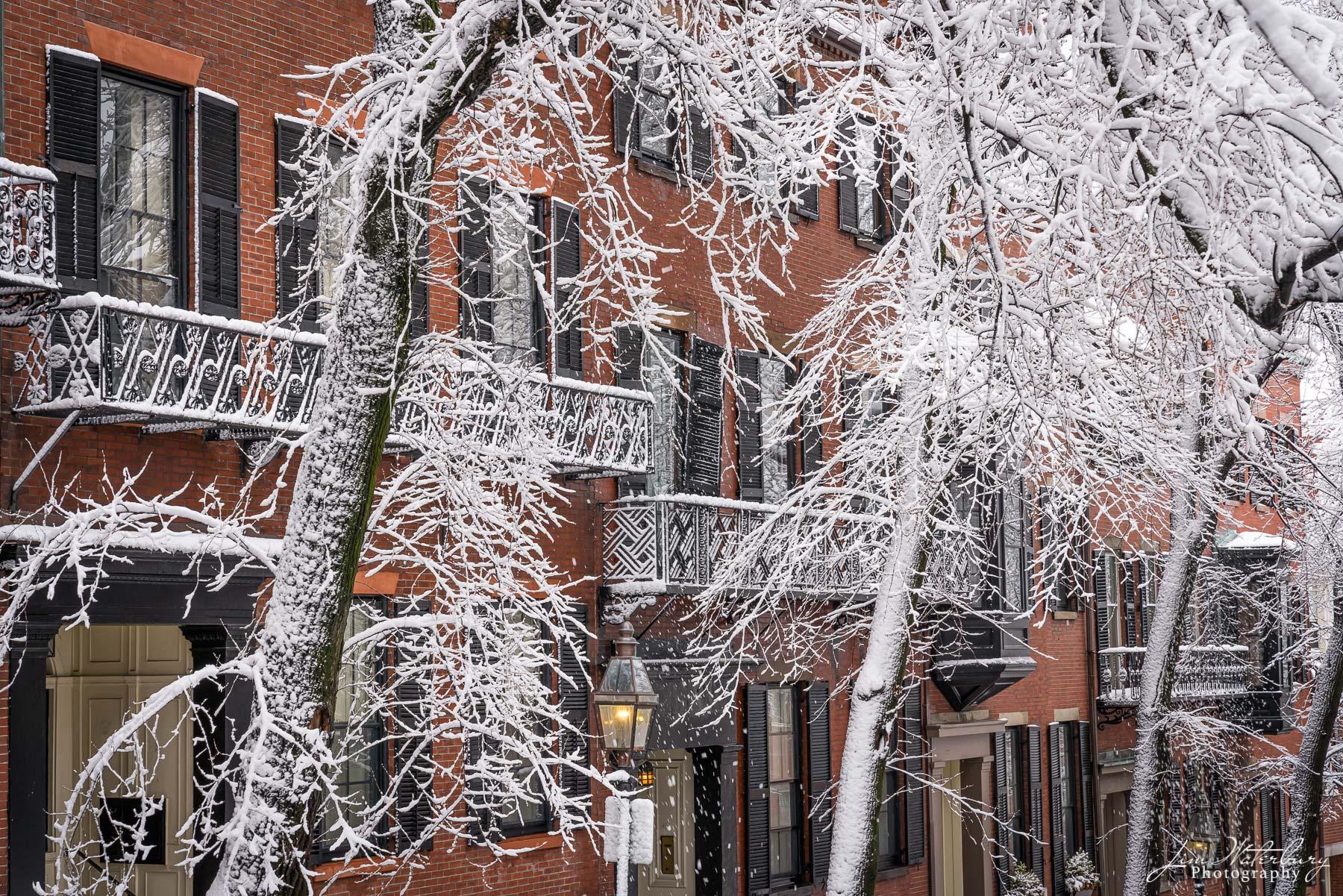 Beacon Hill, Boston, Massachusetts, snow, brick, photo