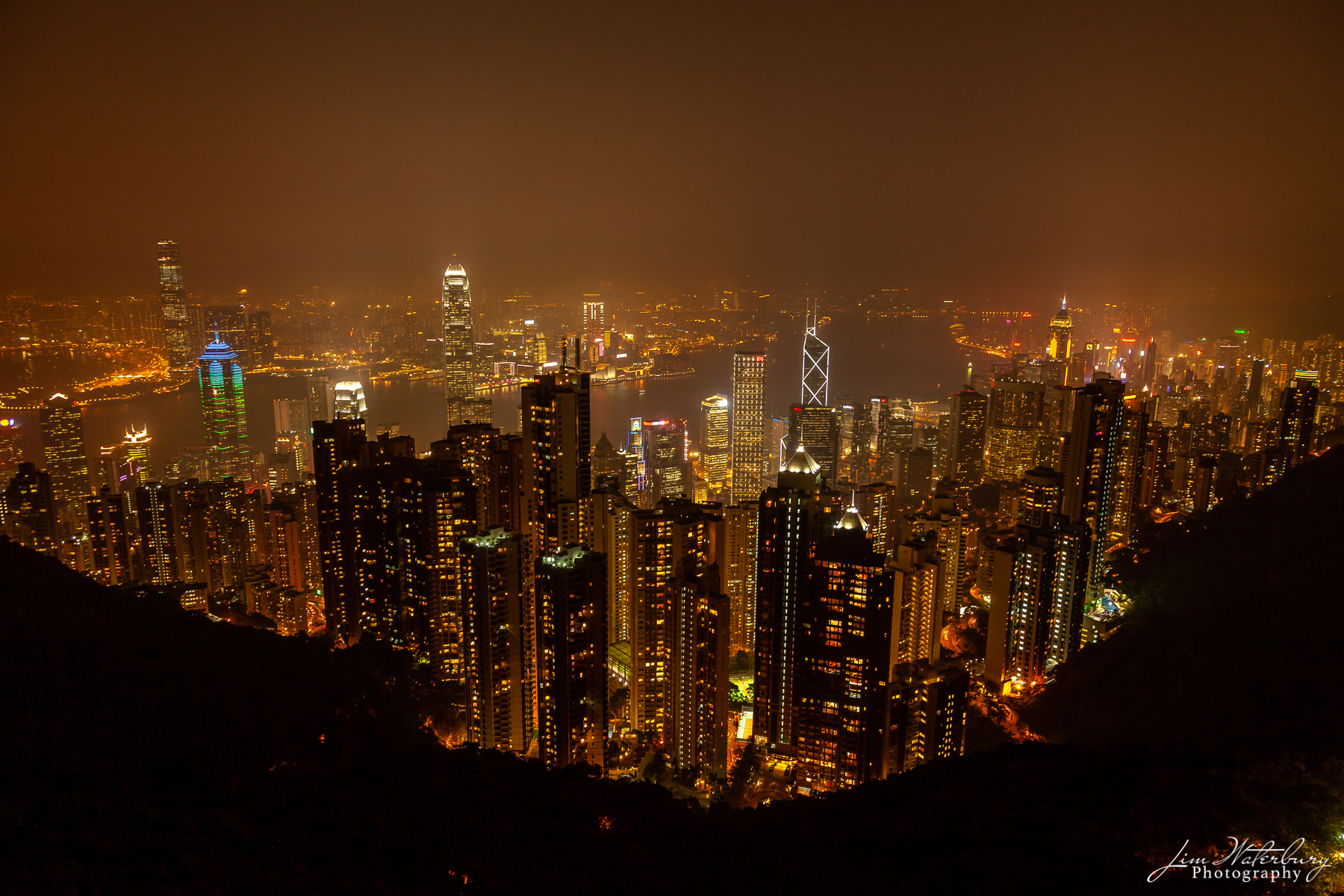 Night view of Hong Kong Island from Victoria Peak just after sunset.