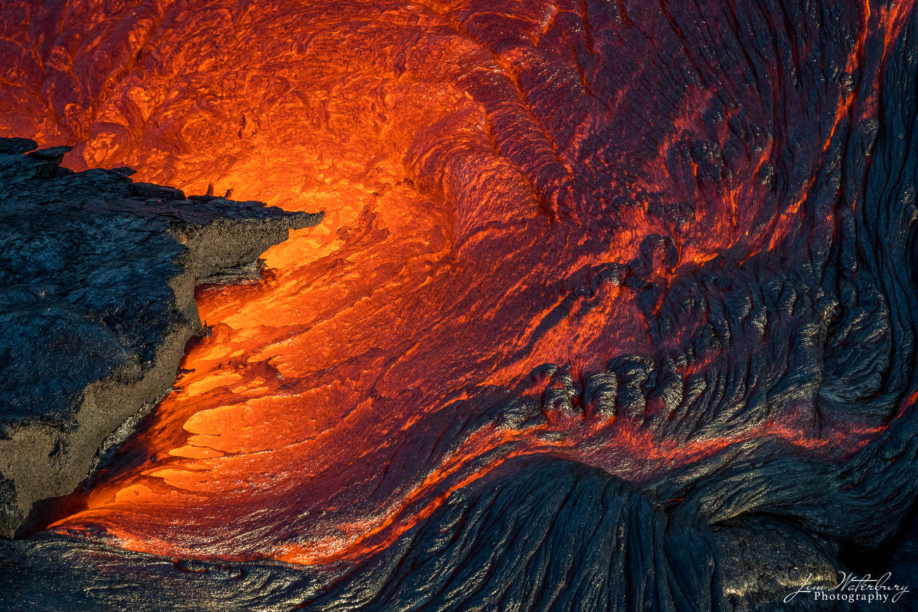 Abstract of lava flowing at the Kilauea volcano in Hawaii's Volcanoes National Park; Big Island, Hawaii, as photographed from...
