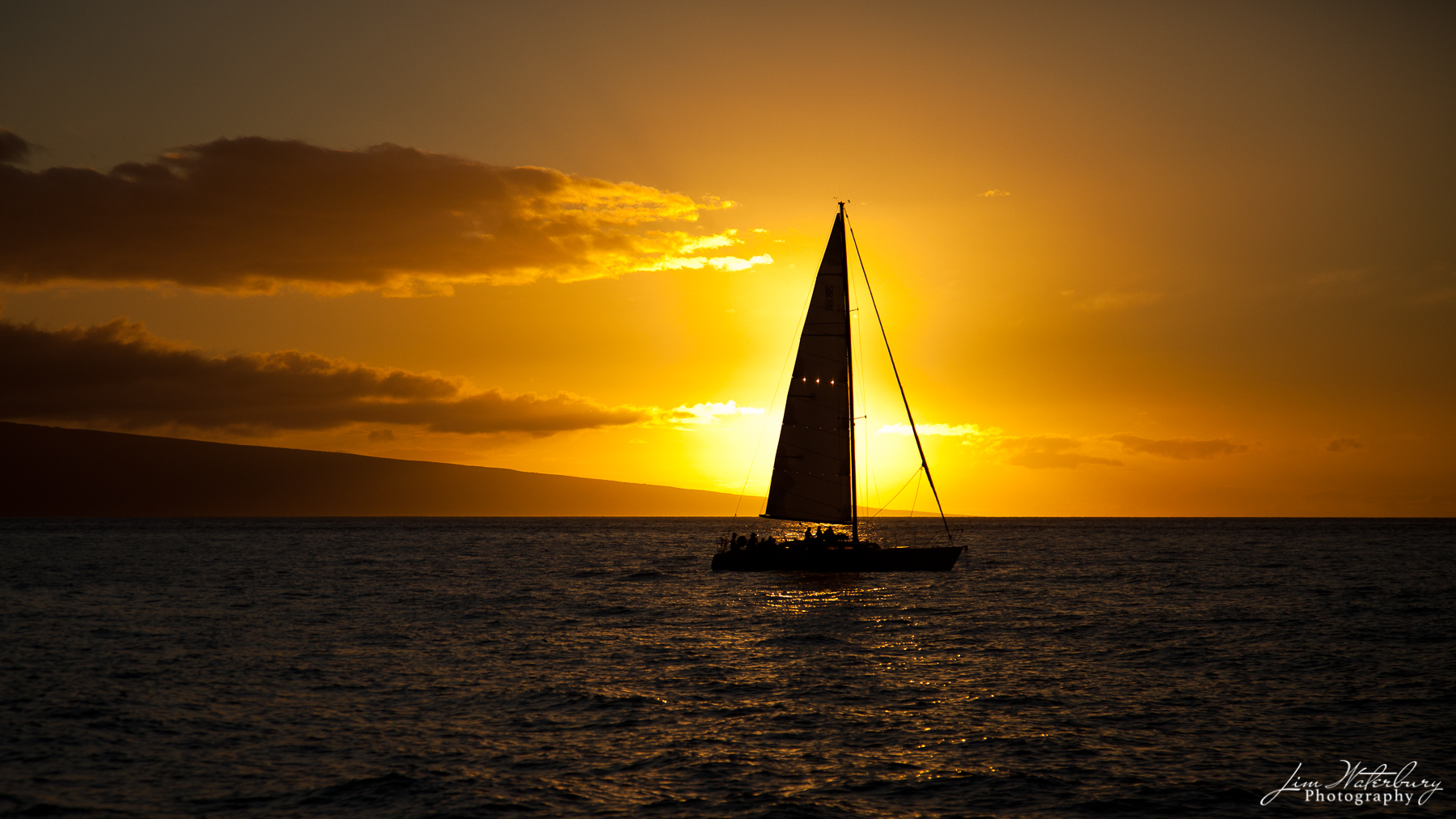 sailboat, setting sun, Maui, photo