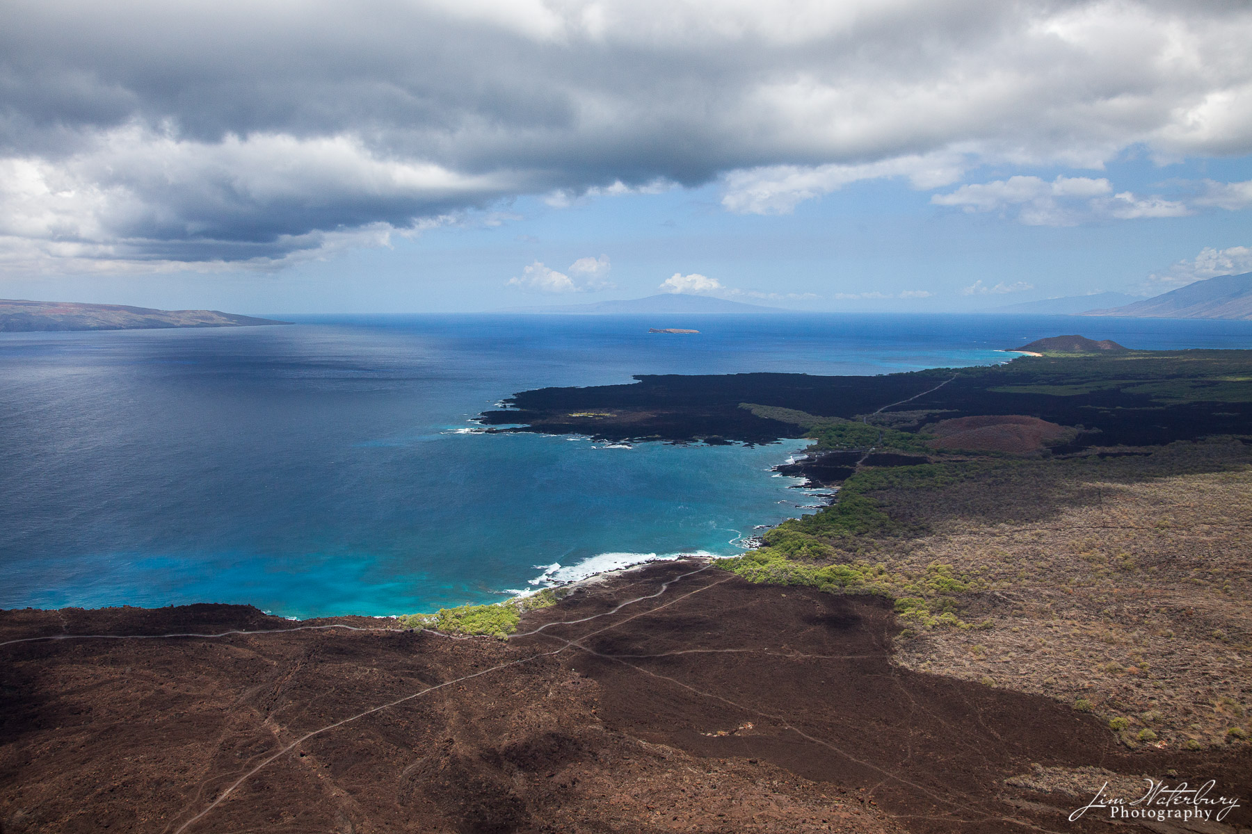 The shore of the island of Maui, as photographed from a helicopter.