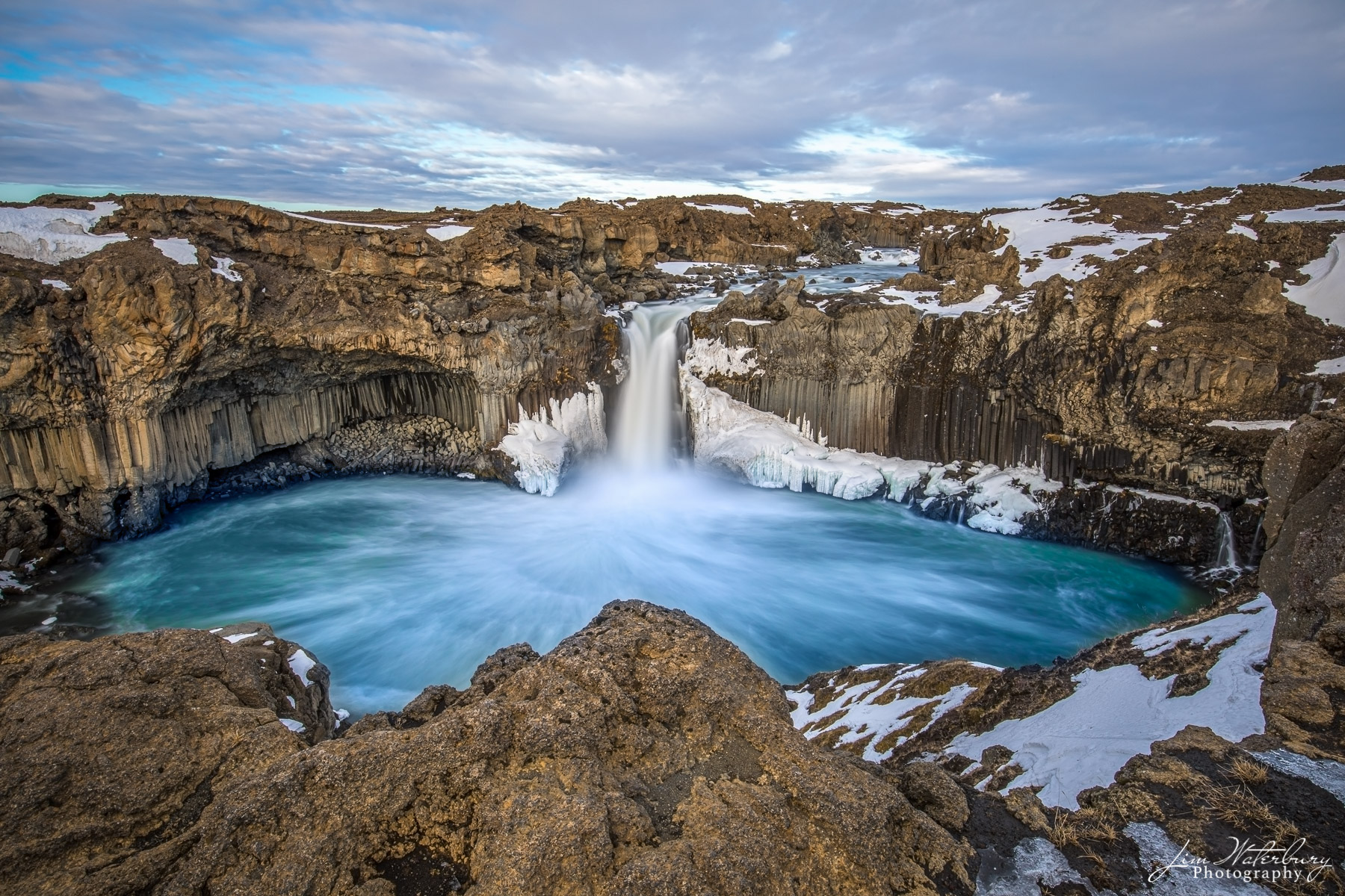 Aldeyjarfoss waterfall, in late winter.  Aldeyjarfoss is one of most impressive waterfalls on the Skjálfandafljót River's...