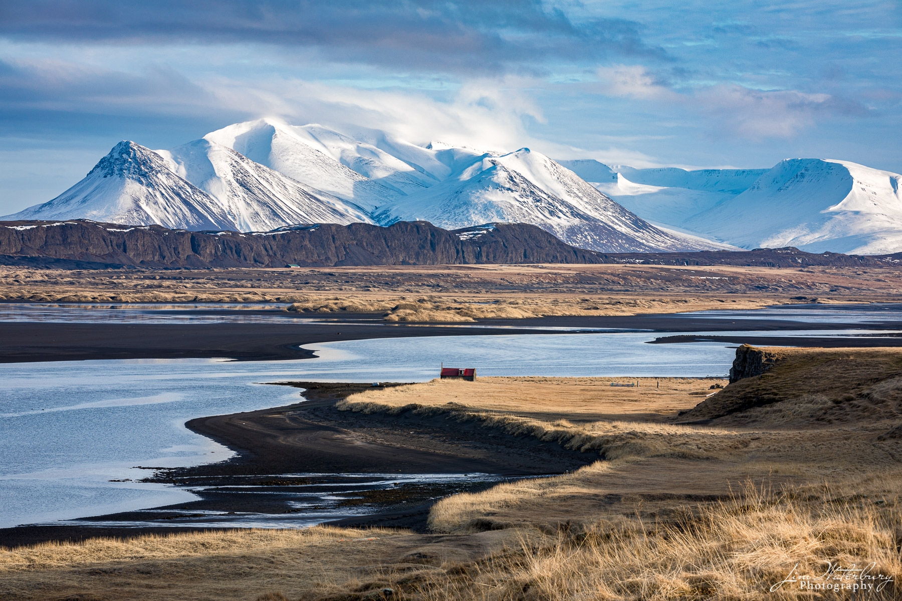 mountains, snow, beaches, black sand, water, Iceland, photo
