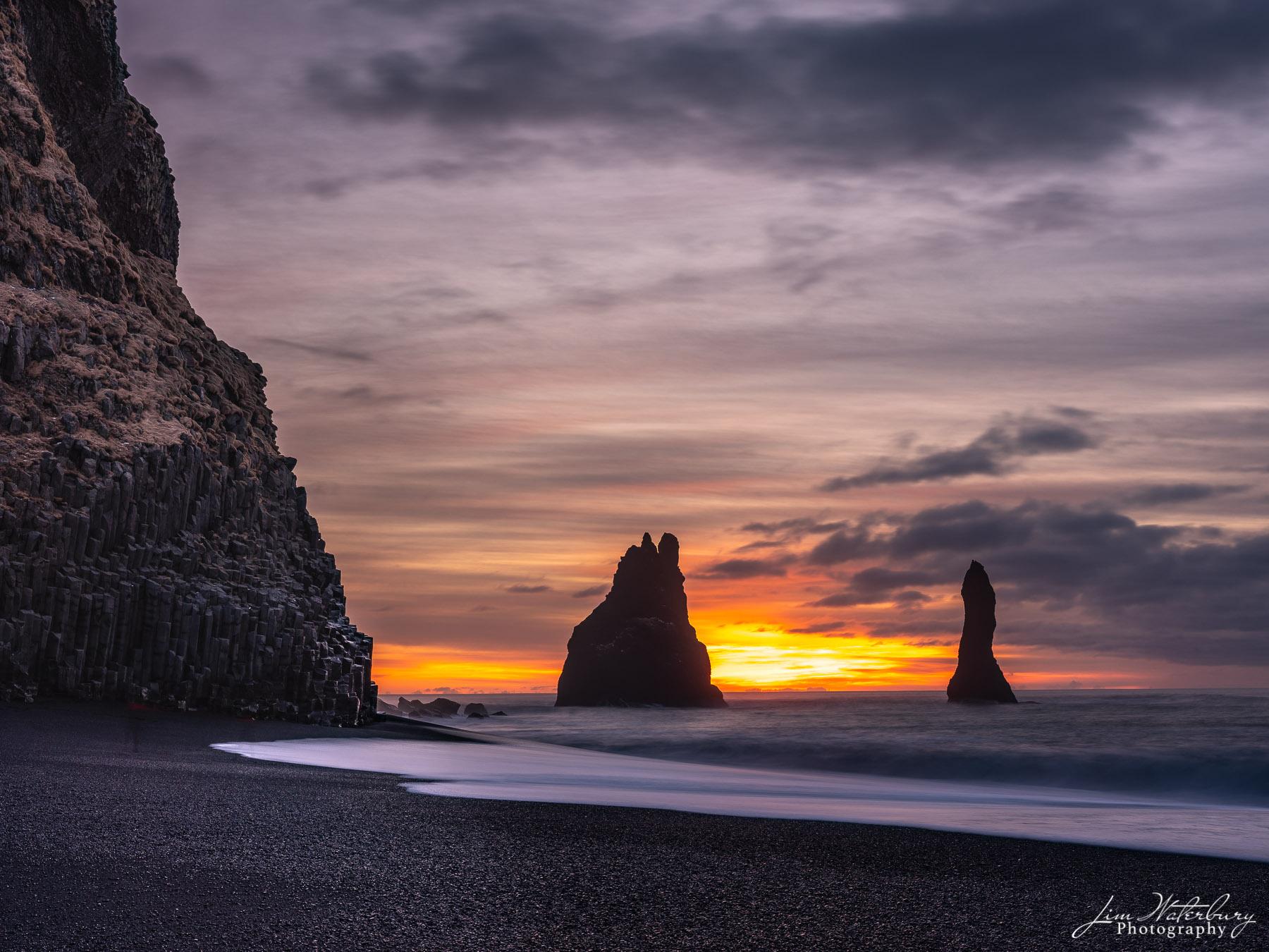 sea stacks, sunrise, black sand, beach, Reynisfjara, Iceland, photo